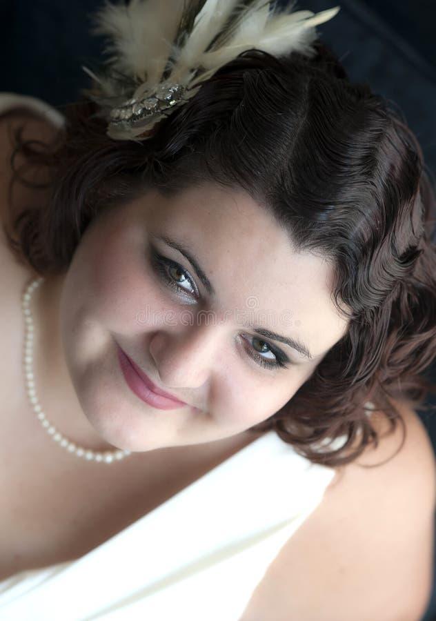 Peinado de la novia de la vendimia foto de archivo