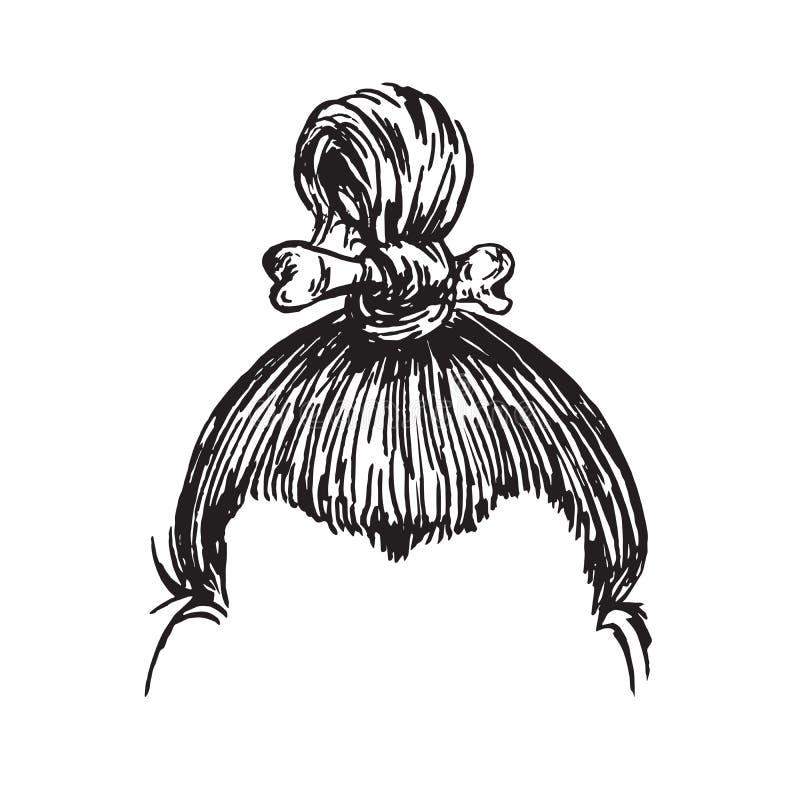 Peinado del hombre antiguo con un hueso, garabato exhausto de la mano, bosquejo en el estilo del grabar en madera, ejemplo del ve libre illustration