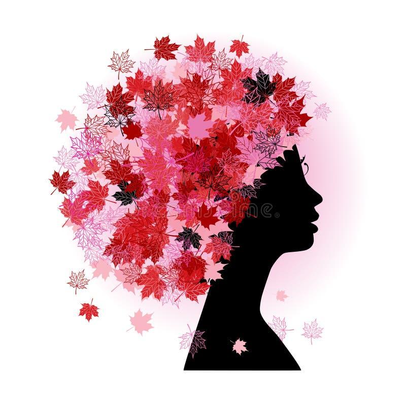 Peinado estilizado de la mujer. Estación del otoño. stock de ilustración