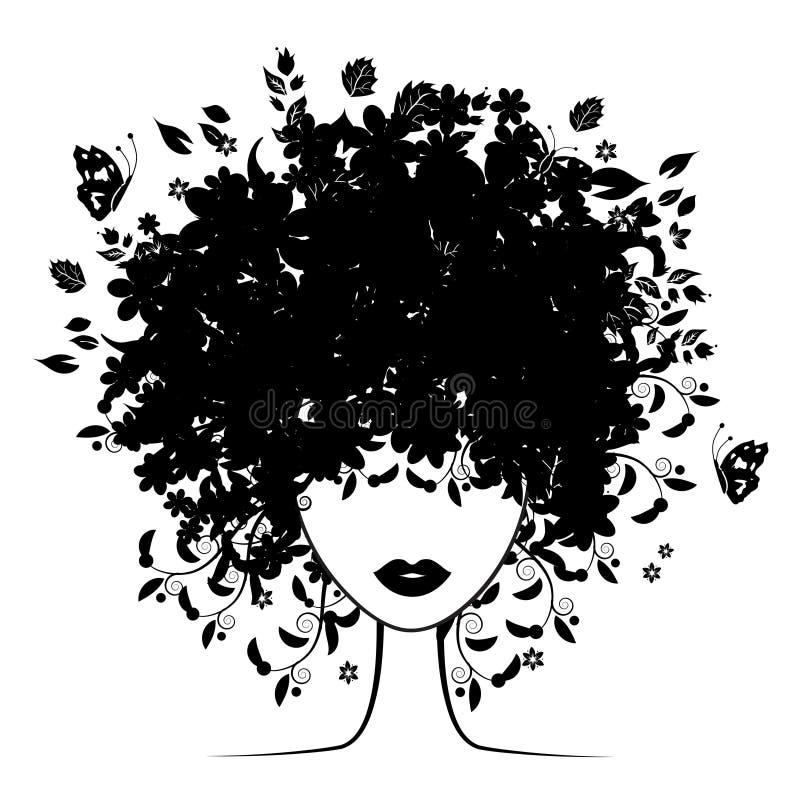 Peinado floral stock de ilustración