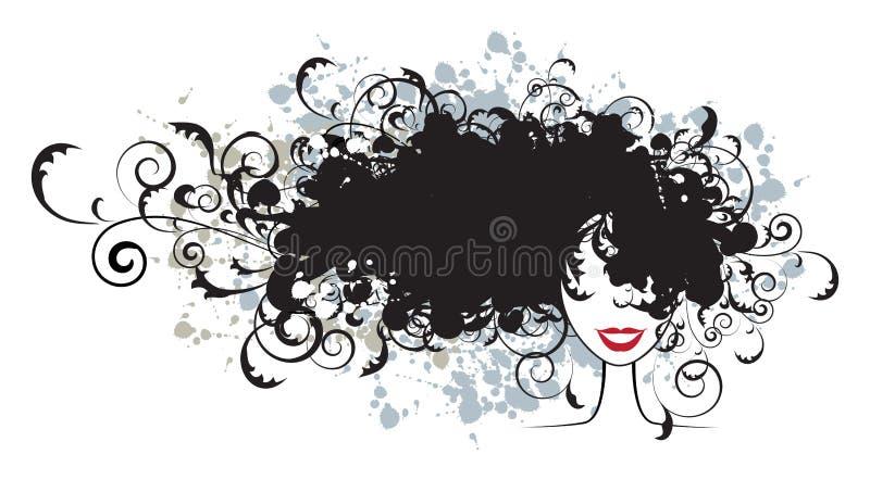 Peinado floral, silueta de la cara de la mujer stock de ilustración