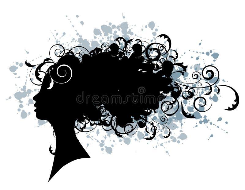 Peinado floral, silueta de la cara de la mujer ilustración del vector