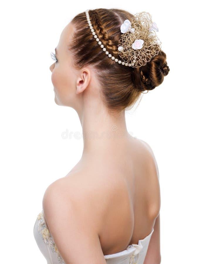 Peinado hermoso de la boda imagen de archivo