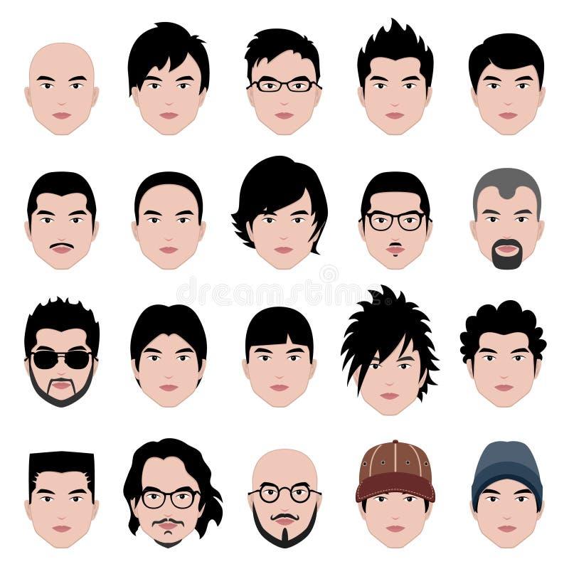 Peinado masculino del pelo de la pista de la cara del hombre ilustración del vector