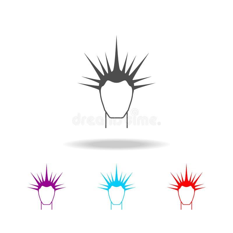 Peinado masculino Elementos del peluquero en iconos coloreados multi Icono superior del diseño gráfico de la calidad Icono simple ilustración del vector