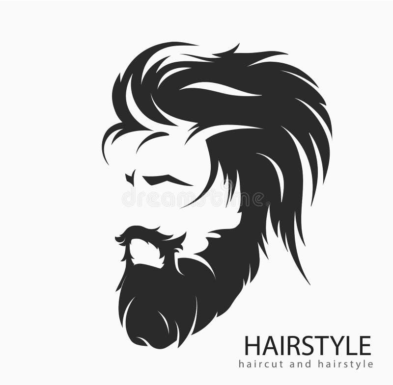 Peinado para hombre con una barba y un bigote libre illustration