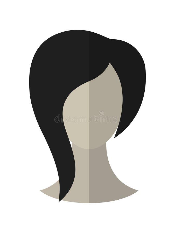 Peinado plano del icono Morena Peluca del pelo Vector ilustración del vector
