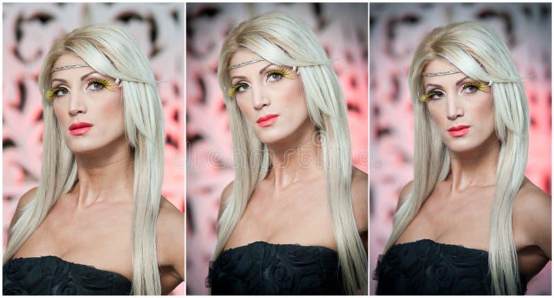 Peinado - retrato femenino rubio atractivo hermoso del arte. Mujer rubia atractiva en la presentación del negro al aire libre. Muj fotos de archivo