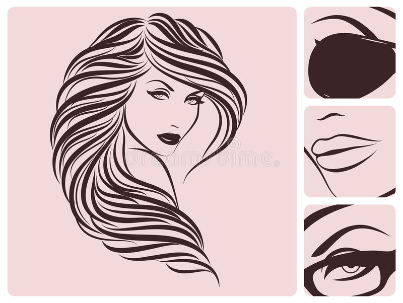 Peinado rizado largo. libre illustration