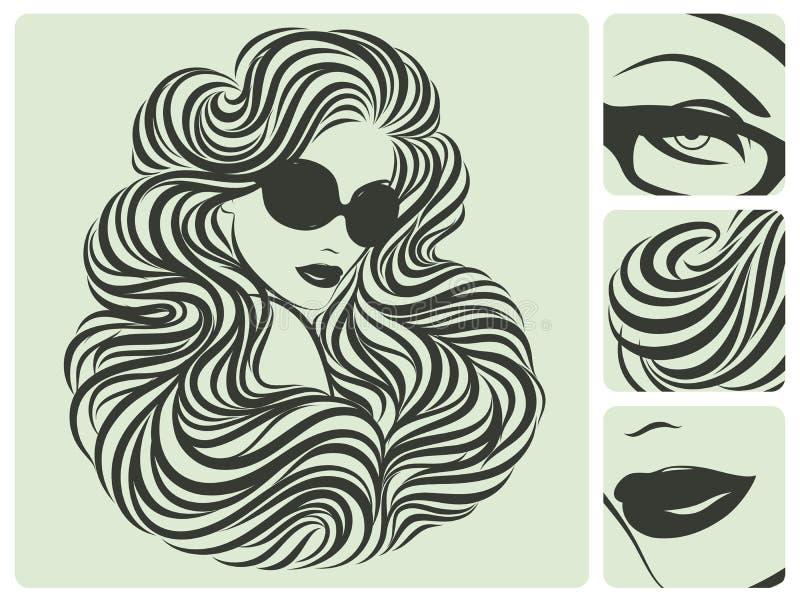 Peinado rizado largo. stock de ilustración