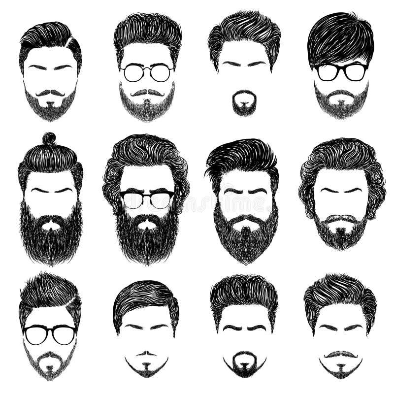 Peinados barbudos del hombre ilustración del vector