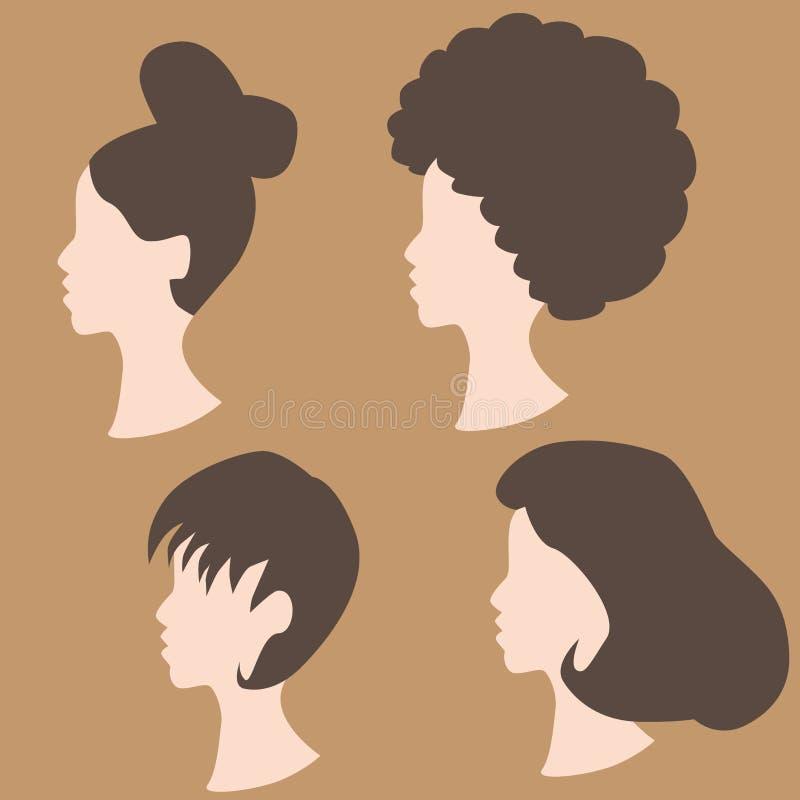 Peinados de la peluca ilustración del vector