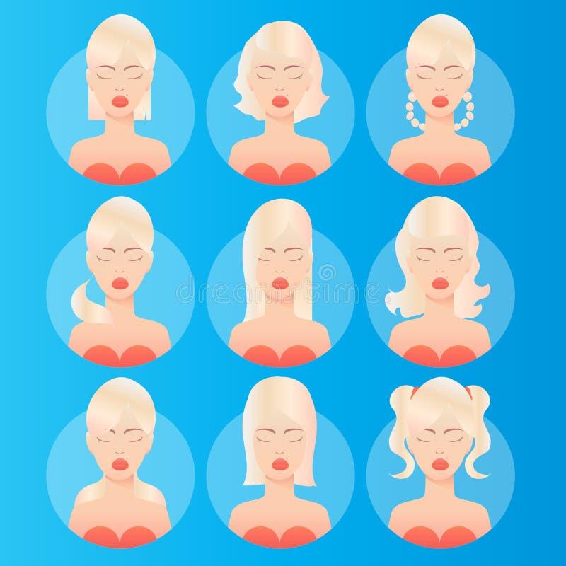 Peinados de las mujeres avatar stock de ilustración