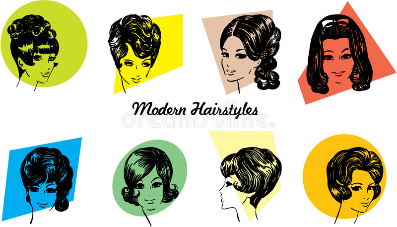 peinados de los años 60 ilustración del vector