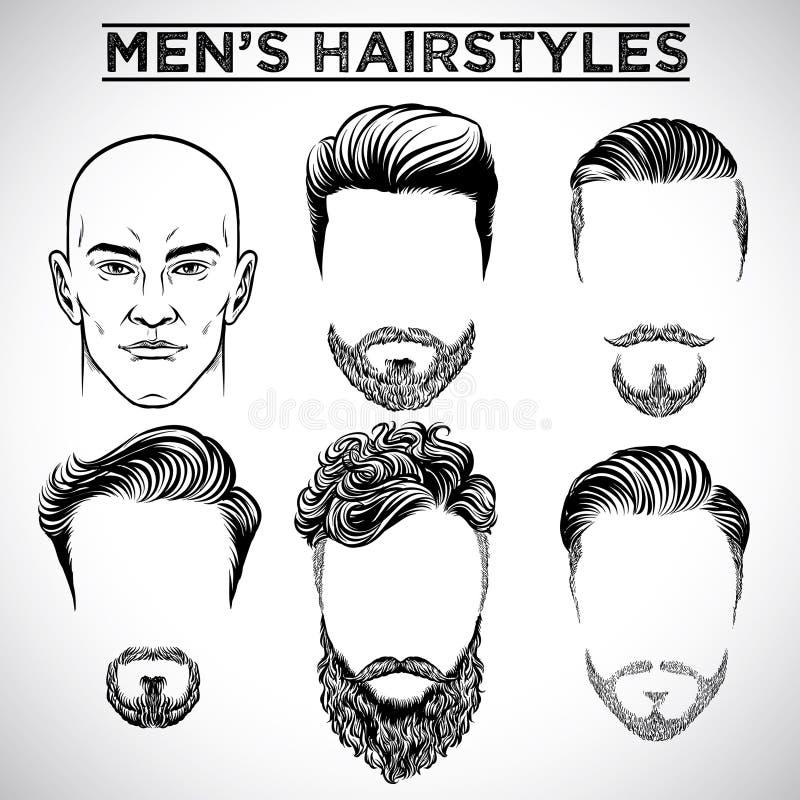Peinados de los hombres stock de ilustración