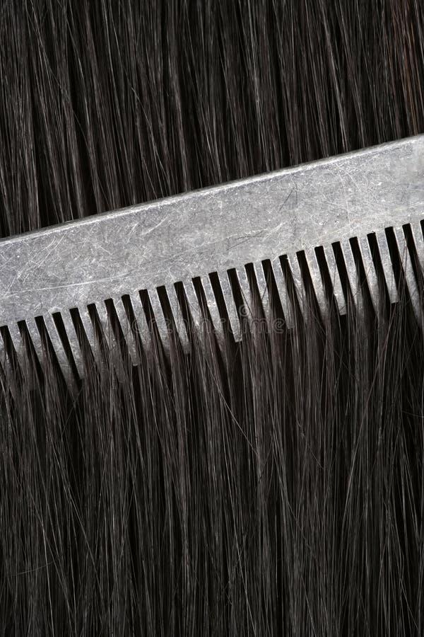 Peinar el pelo negro imagen de archivo