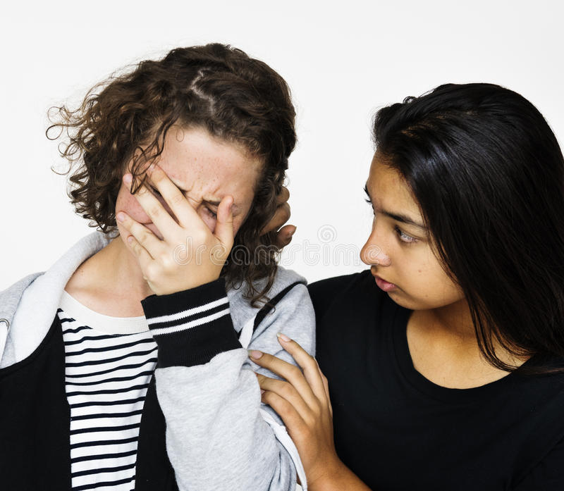 Peine malheureuse de femmes d'ami de tristesse image libre de droits