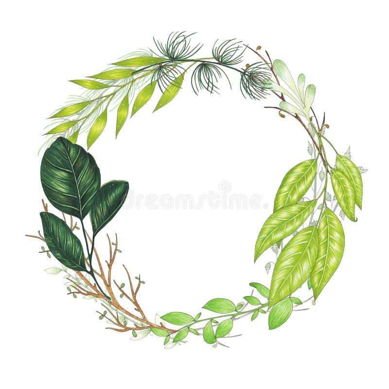 Peint à la main avec la guirlande florale de marqueurs avec la brindille, la branche et les feuilles abstraites vertes illustration stock