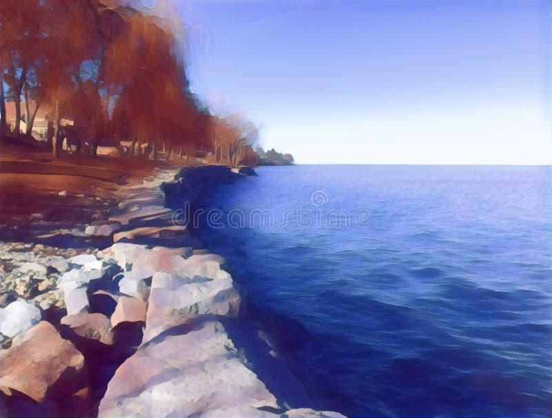 Peint au bord du lac images stock