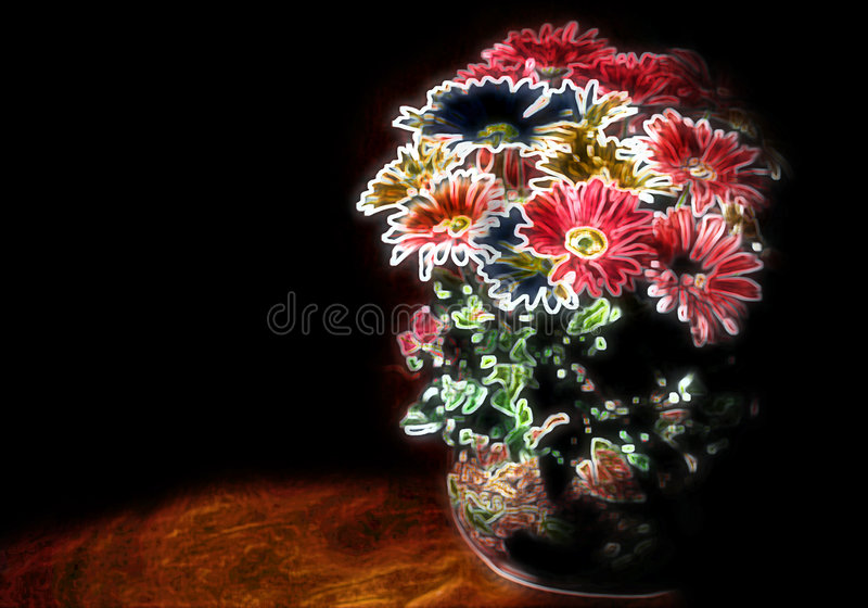 Download Peint avec la lumière photo stock. Image du floral, fleurs - 62000