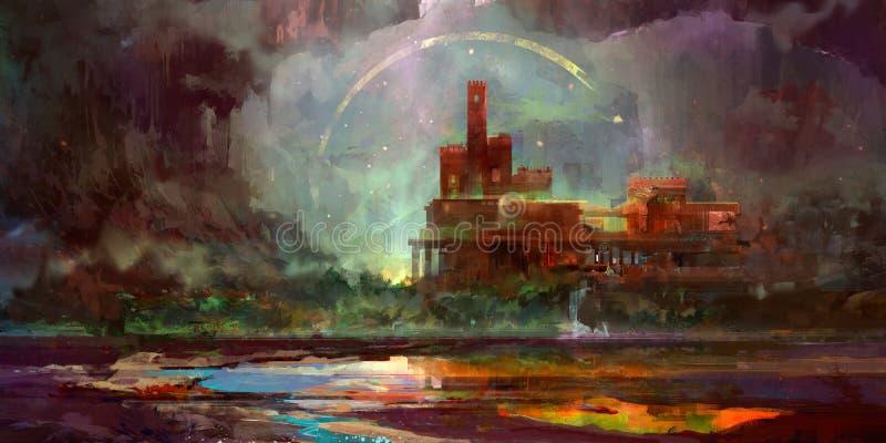 Peint dans le paysage lumineux d'imagination avec le château illustration libre de droits