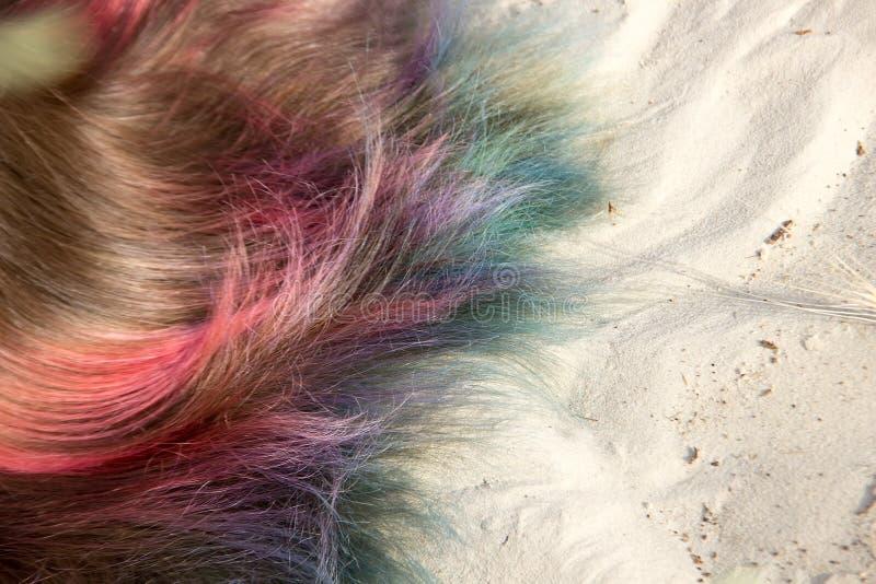 Peint dans les cheveux différents de couleurs sur le sable image stock