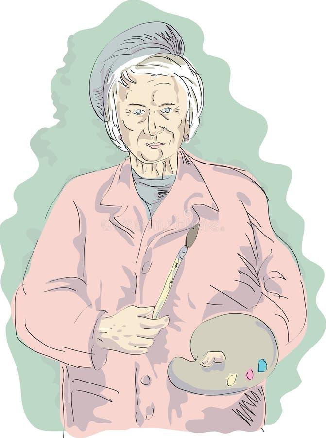 Peintre d'artiste de femme âgée