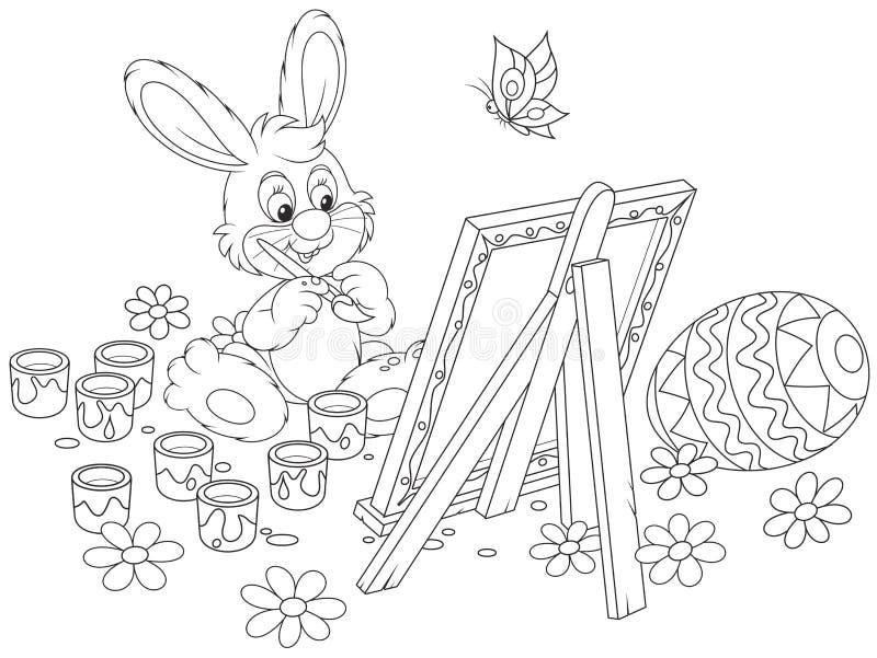 Peintre de lapin de Pâques illustration libre de droits