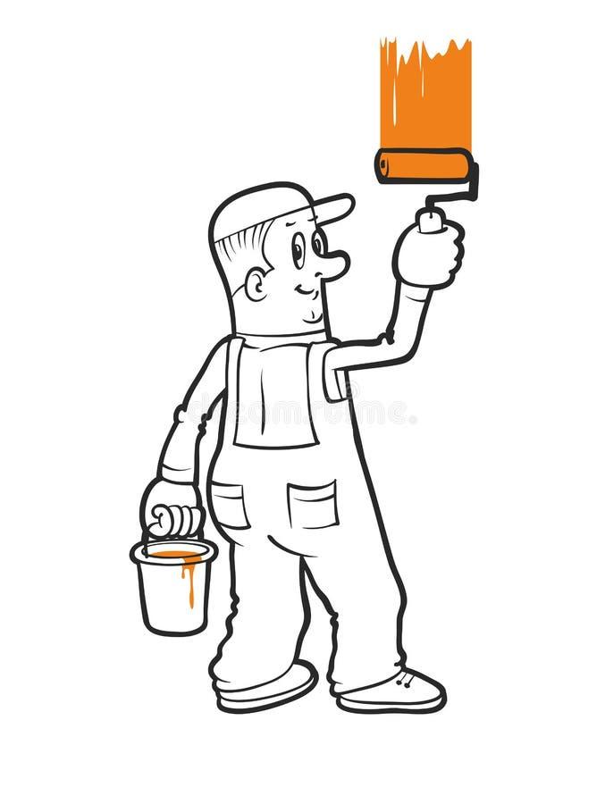Download Peintre De Maison De Sourire Illustration de Vecteur - Illustration du construction, maison: 76083611