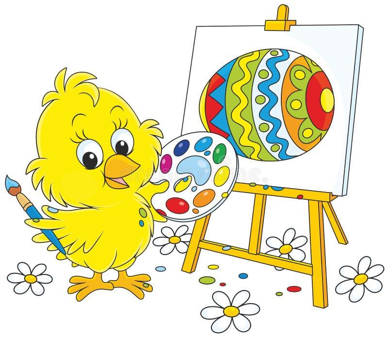 Peintre de poussin de Pâques illustration stock