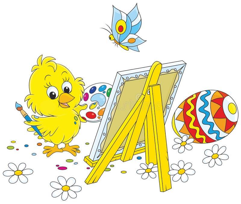 Peintre de poussin de Pâques illustration de vecteur