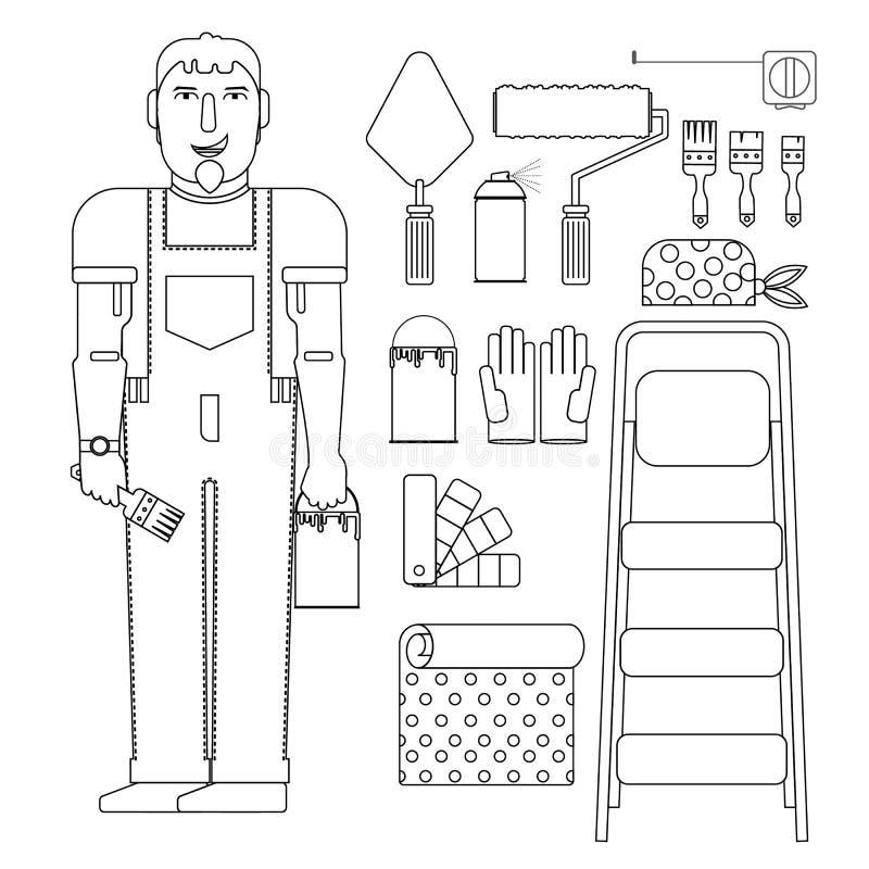 Peintre de ses outils illustration stock