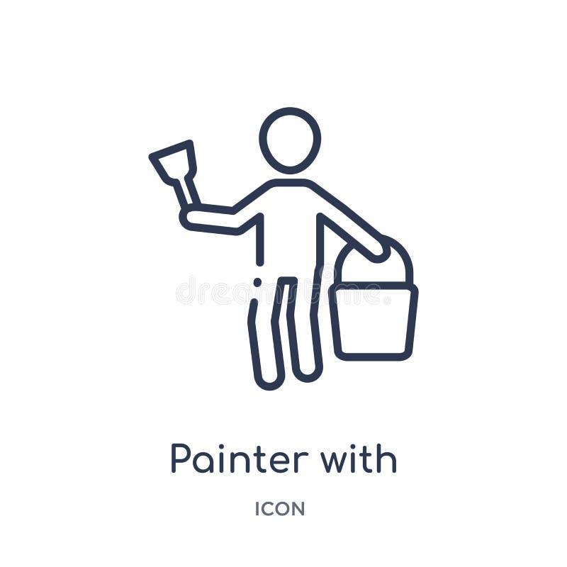 Peintre linéaire avec l'icône de seau de peinture de la collection d'ensemble d'humains Ligne mince peintre avec l'icône de seau  illustration stock