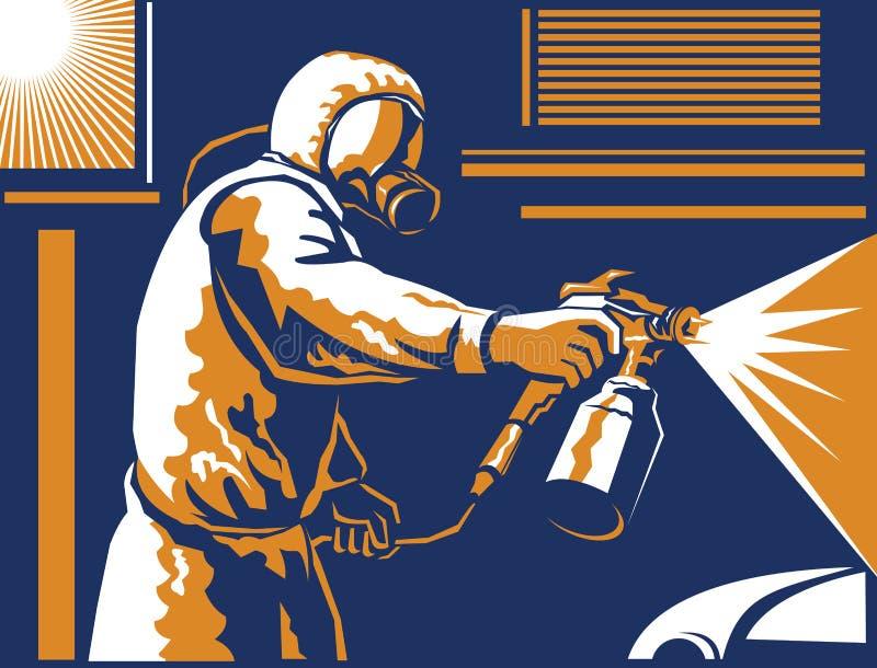 Peintre Painting Spraying Retro de jet illustration stock