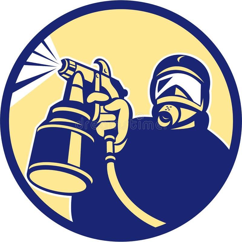 Peintre Spraying Retro d'arme à feu de peinture de jet illustration de vecteur