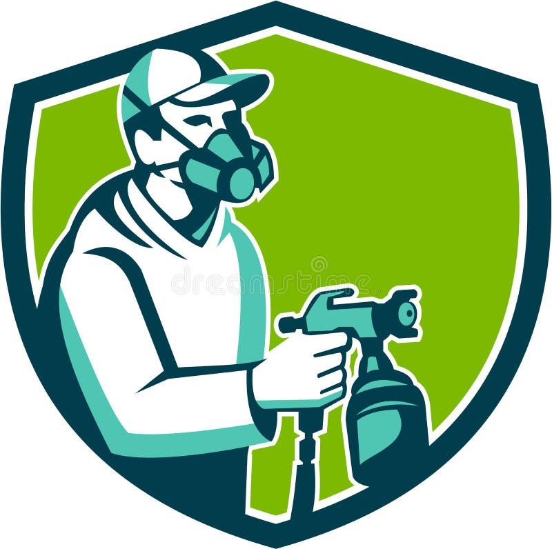 Peintre Spraying Shield Retro d'arme à feu de peinture de jet illustration stock