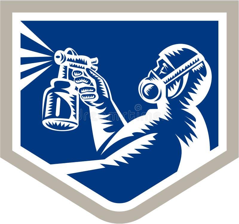 Peintre Spraying Woodcut Crest de jet rétro illustration de vecteur