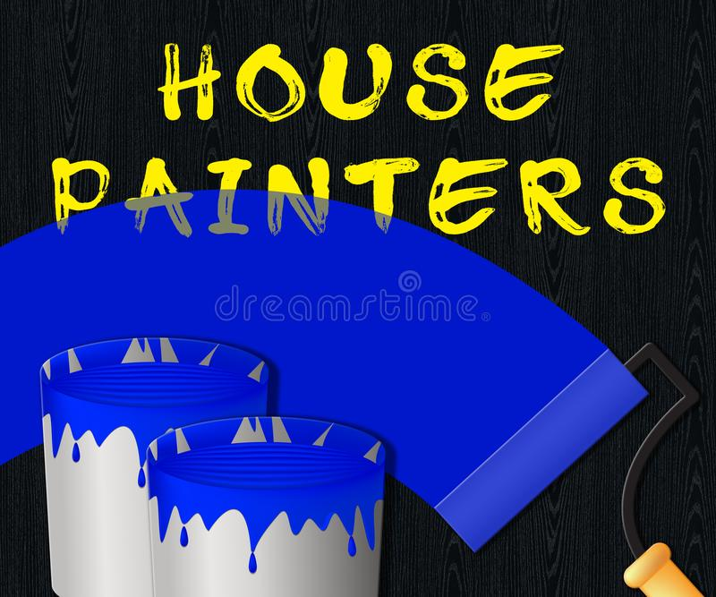 Peintres de Chambre montrant l'illustration 3d de peinture à la maison illustration libre de droits
