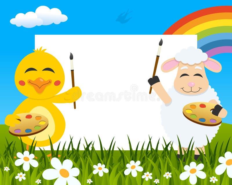 Peintres horizontaux de Pâques - poussin et agneau illustration de vecteur