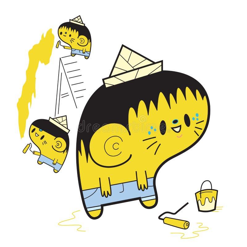Peintres jaunes illustration de vecteur