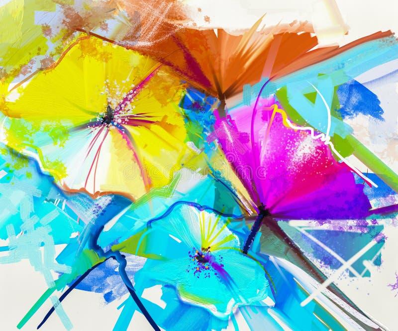 Peinture à l'huile abstraite colorée de la fleur de ressort illustration de vecteur