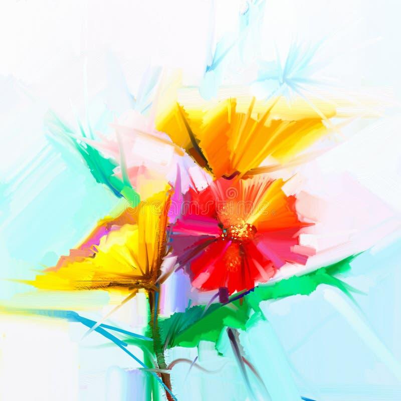 Peinture à l'huile abstraite des fleurs de ressort La vie toujours de la fleur jaune et rouge de gerbera illustration de vecteur