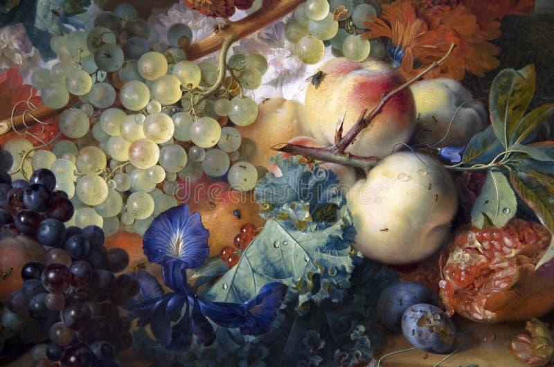 Peinture à l'huile antique de musée de Getty de fruits photo libre de droits