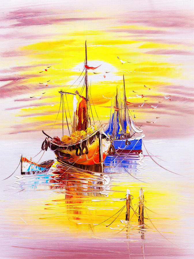 Peinture à l'huile - bateau illustration de vecteur