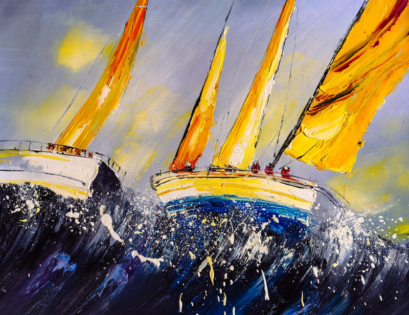 Peinture à l'huile - bateau illustration libre de droits