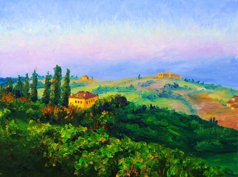 Peinture à l'huile - crépuscule illustration de vecteur