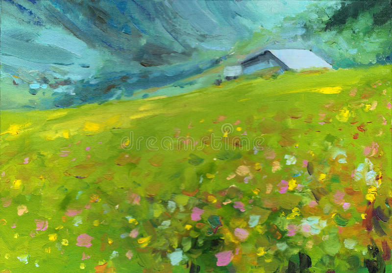 Peinture à l'huile d'horizontal image libre de droits