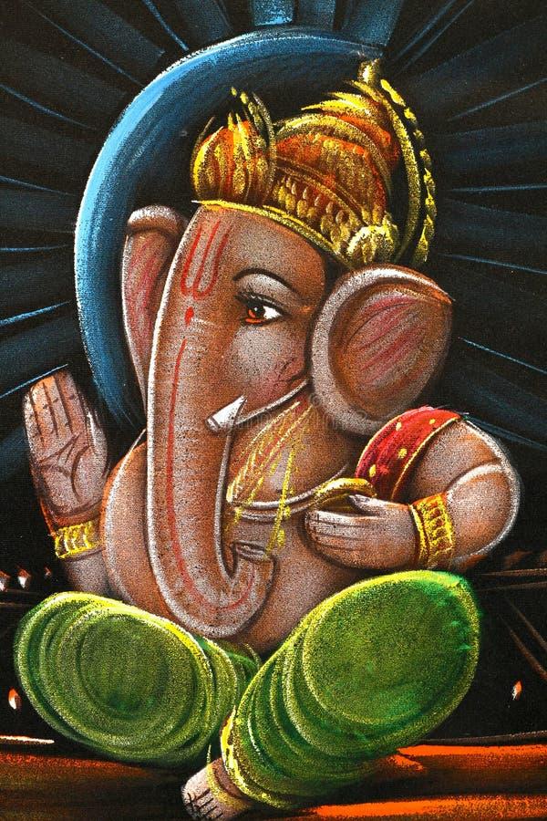 Peinture à l'huile de ganesha de seigneur illustration de vecteur