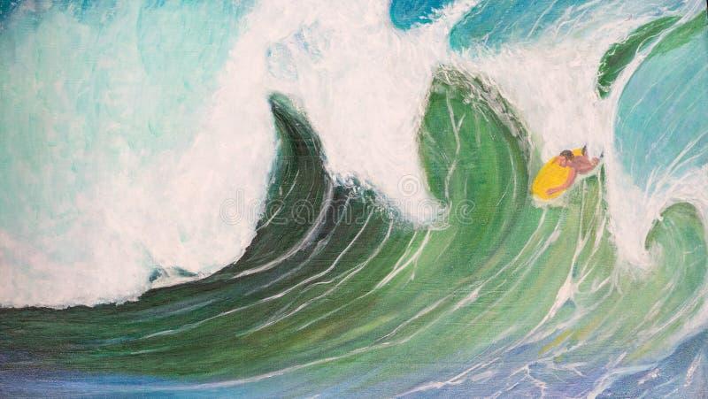 Peinture à l'huile de vagues et de surfer illustration de vecteur