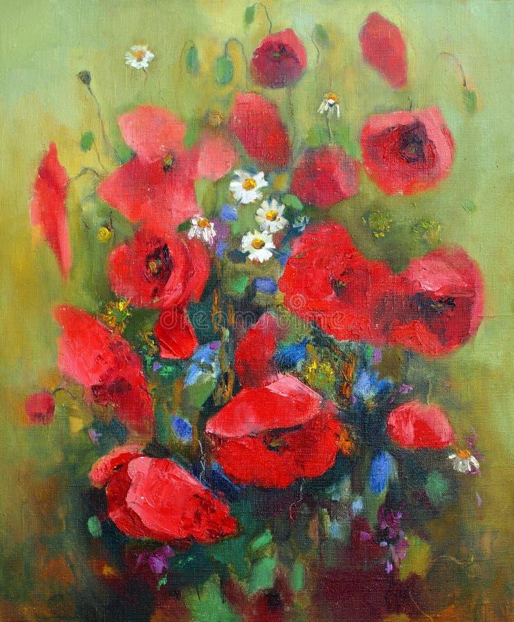 Peinture à l'huile des fleurs illustration stock